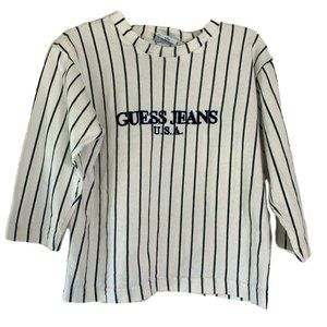 Guess Jeans Unisex Kids T-Shirt White Black Stripe